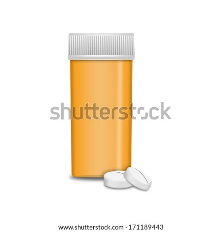 Empty classic bottle with pills - stock photo