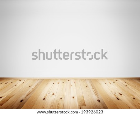 Empty clean interior with white wall and natural wooden rustic floor - stock photo