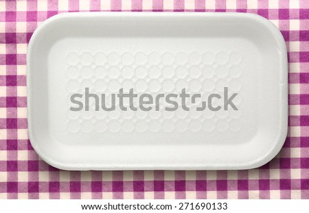 Empty clean white plastic food container closeup - stock photo