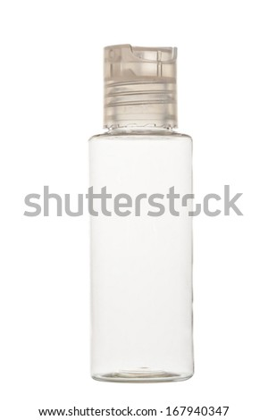 empty clear plastic bottle for cosmetics on a white background - stock photo
