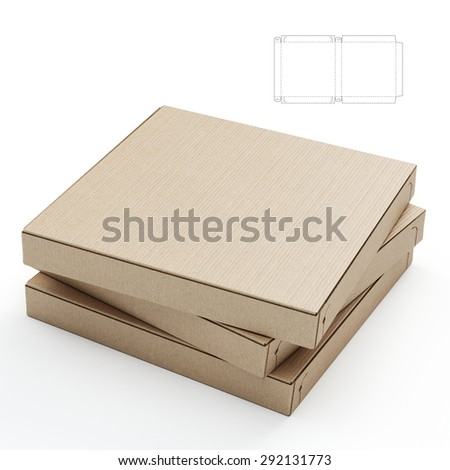 Empty Closed Pizza Boxes with Blueprint Die Line - stock photo
