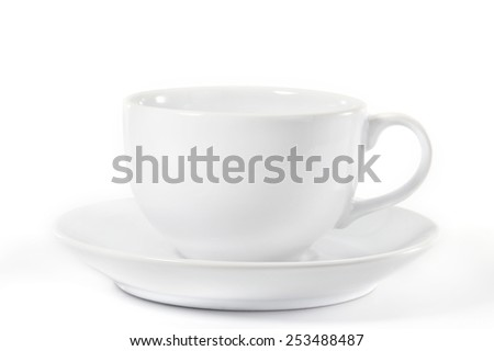 Empty coffee cup and saucer on white background. - stock photo