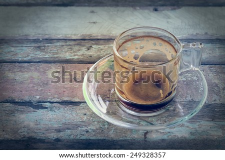 Empty coffee cup in vintage on wooden table - stock photo