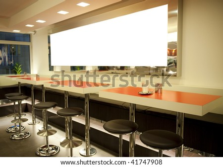 Empty coffee house with modern decoration - stock photo