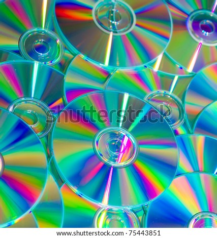 Empty compact colorful discs - stock photo