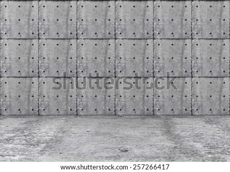 Empty Concrete Room 3D Interior. 3D Rendering - stock photo