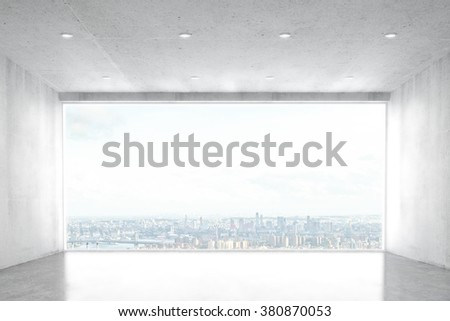 Empty concrete room with big window with city view 3D Render - stock photo