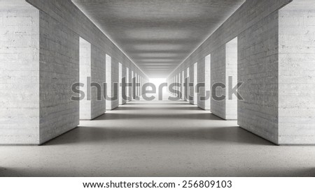 Empty concrete walls corridor with bright end 3d render - stock photo