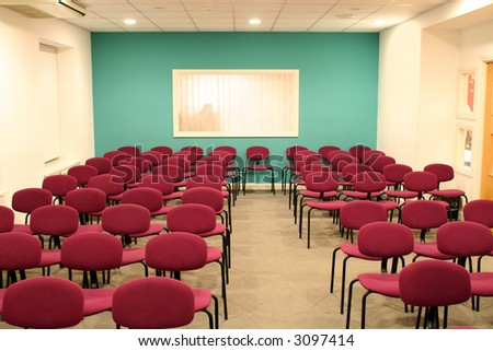 Empty conference hall ready for people - stock photo