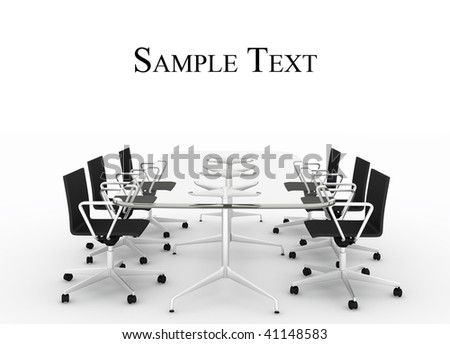 Empty conference table isolated on white with place for text - stock photo