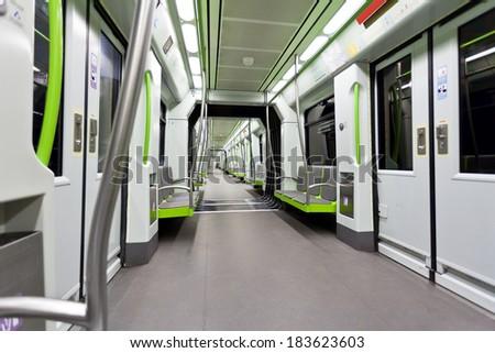 Empty contemporary subway car in Valencia, Spain. - stock photo