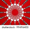 Empty copy space of Set of forks in competition on red  background. - stock photo