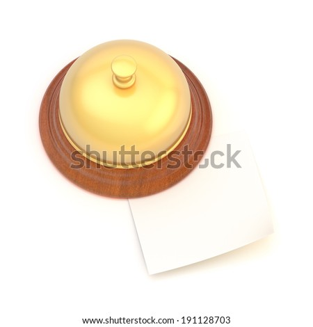 Empty copyspace paper note under the golden reception bell over the white background - stock photo