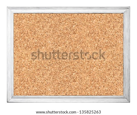 Empty cork board in white wooden frame isolated on white - stock photo