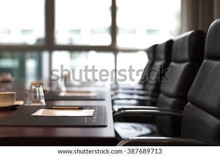 Empty corporate conference room before business meeting - stock photo