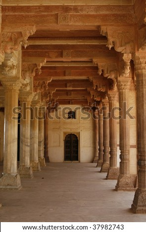 Empty corridor in an abandoned Amber Fort. Rajasthan, India - stock photo