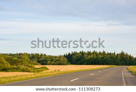 Empty country road in rural landscape - stock photo