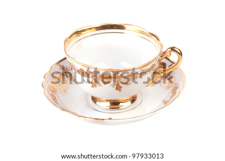 Empty cup isolated on white background - stock photo
