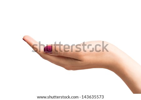 Empty cupped hand - stock photo