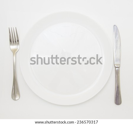 Empty cutlery isolated on white background/ White shiny plate with folk and knife - stock photo