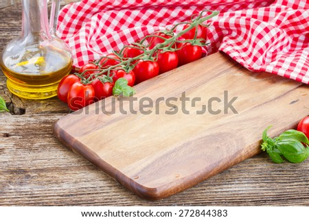empty cutting board  - italian cuisine concept - stock photo