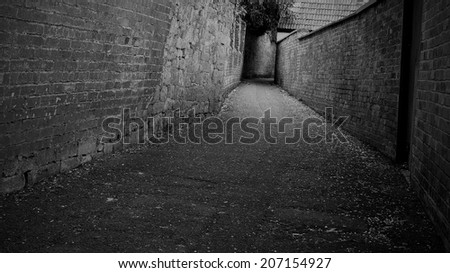 Empty Dark Alleyway Background - stock photo
