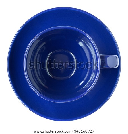 empty dark blue cup and saucer top view isolated on white - stock photo