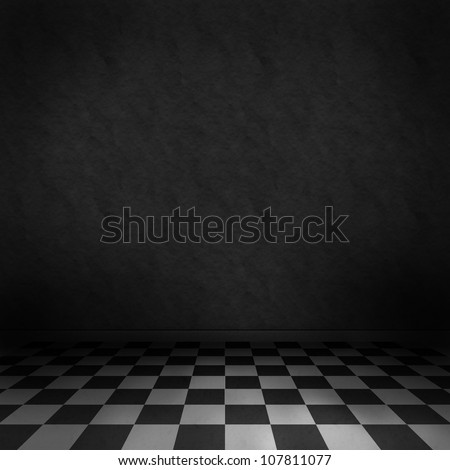 Empty, dark, psychedelic room with black and white checker on the floor and dark wall. Empty background texture for design. - stock photo