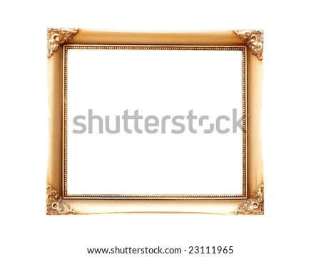 Empty, decorated picture frame isolated on white - stock photo