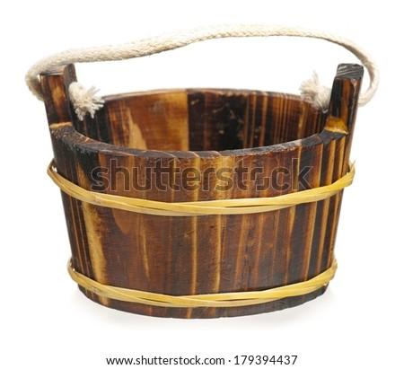 Empty decorative wooden tub isolated on white background - stock photo