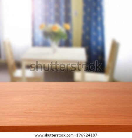 empty desk and table in room  - stock photo
