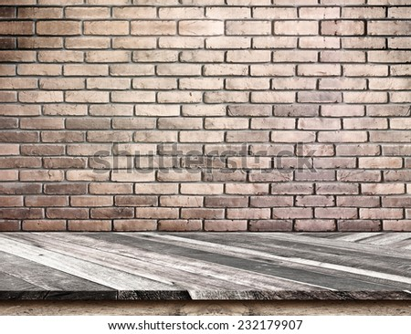 Empty Diagonal Wooden Table top at red brick wall,Template mock up for display of your product,Business presentation - stock photo