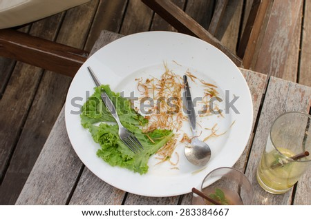 Empty dish after food on the table - stock photo