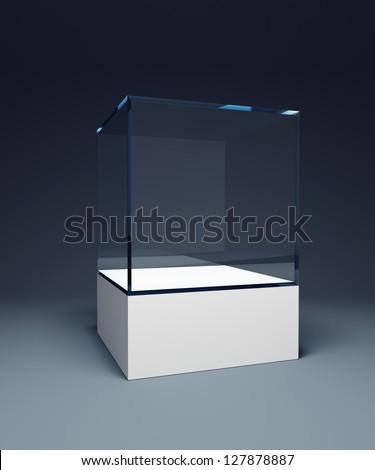 empty display case, 3d render - stock photo