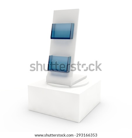 empty display with pockets for advertizing production on a pedestal - stock photo