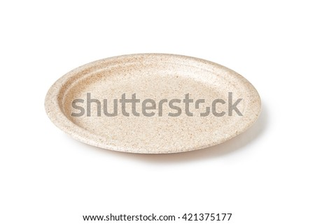 empty disposable  paper plate isolated on white background - stock photo