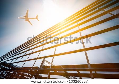 empty entrance of airport at shanghai china. - stock photo