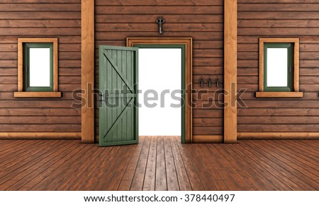 Empty  entrance room of a wooden house with open front door and two windows - 3D Rendering - stock photo