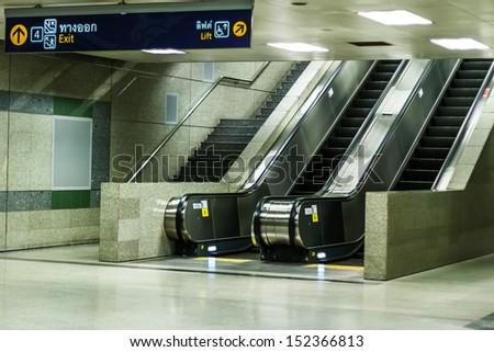 empty escalator  - stock photo