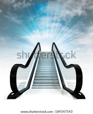 empty escalator leading to sky concept render illustration - stock photo