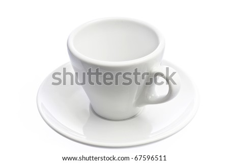 Empty espresso coffee cup isolated over white - stock photo