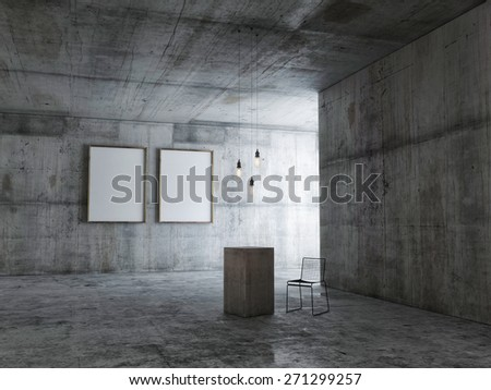 Empty expo space with mock up posters, 3d illustration - stock photo