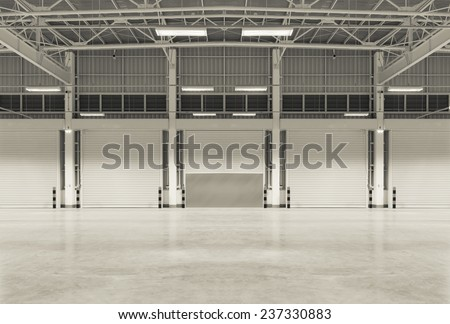 Empty factory use for background, night scene. - stock photo