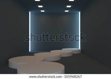 Empty fashion runway blue color lighting and black wall. - stock photo