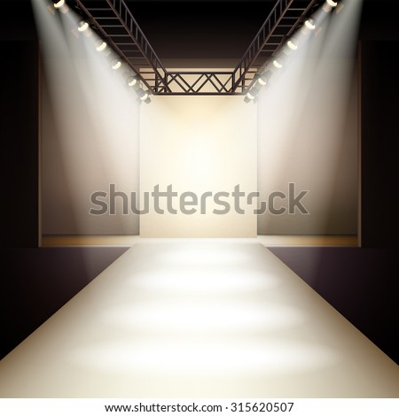 Empty fashion runway podium stage interior realistic background  illustration - stock photo