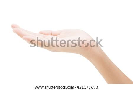 empty female hand holding isolated on white background - stock photo