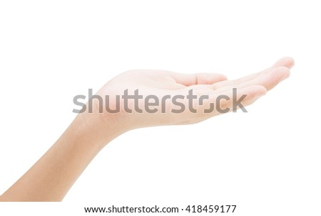 empty female hand holding release isolated on white background - stock photo