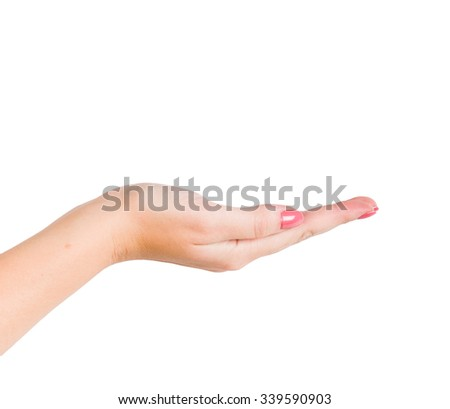 empty female woman hand holding isolated on white - stock photo