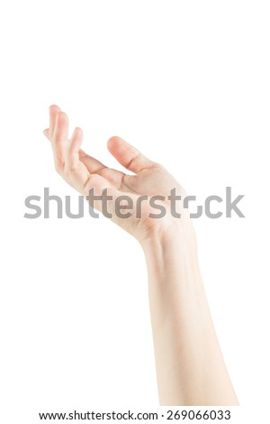Empty female woman hand holding isolated on white background with clipping paths - stock photo