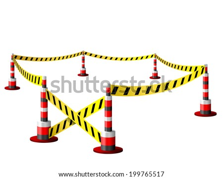 Empty fenced restricted area. Zone with barrier tape and bollards. Qualitative illustration for security, protection, enclosure, etc - stock photo
